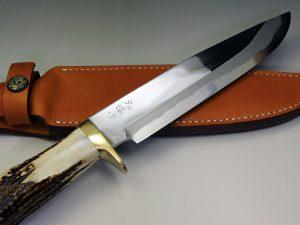 西田刃物工房 大祐作 青紙スーパー本割込ナイフ210スタッグ