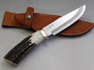西田刃物工房 大祐作 白一号本割込ナイフ125スタッグ